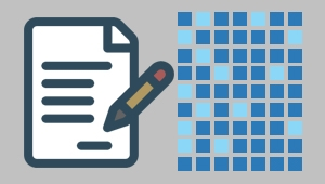 Image of a sheet of paper and pencil on the left side and a grid of dark and light blue squares on the right indicating the effort to digitize all paper documents.