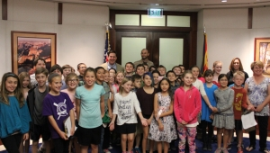 Governor Doug with a group of students and their teachers