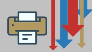 Image of a printer and five downward facing multi-colored arrows representing the goal of reducing the number of printers in use by State agencies.